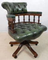 Button Back Leather Swivel Office Armchair - SOLD